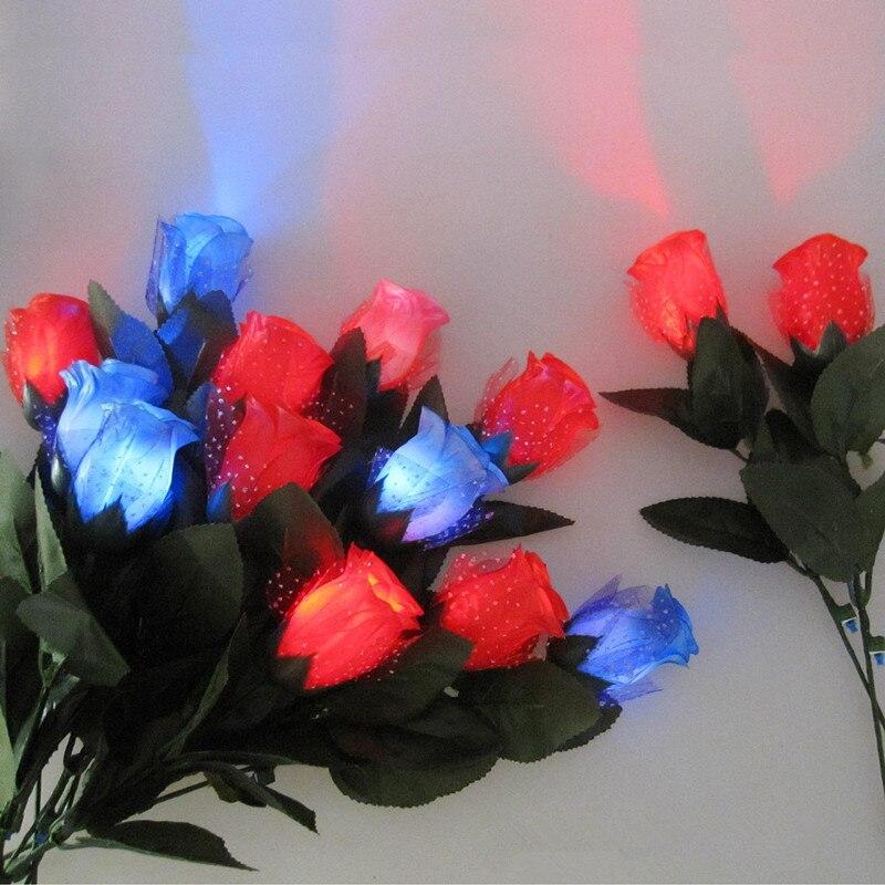 Baru 10 Pcs Led Cahaya Kain Bunga Mawar Mainan Merah Biru Pink