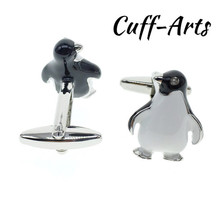 Cuffarts 2018 Mens Cufflinks Penguin Tie Clip Cuff Links Fashion Silver Jewelry Cute Animal Cufflinks Gifts For Men C10024 rj free shipping silver star wars cuff links robot bb8 r2d2 fighter knight stormtrooper tie clips cufflinks women men jewelry