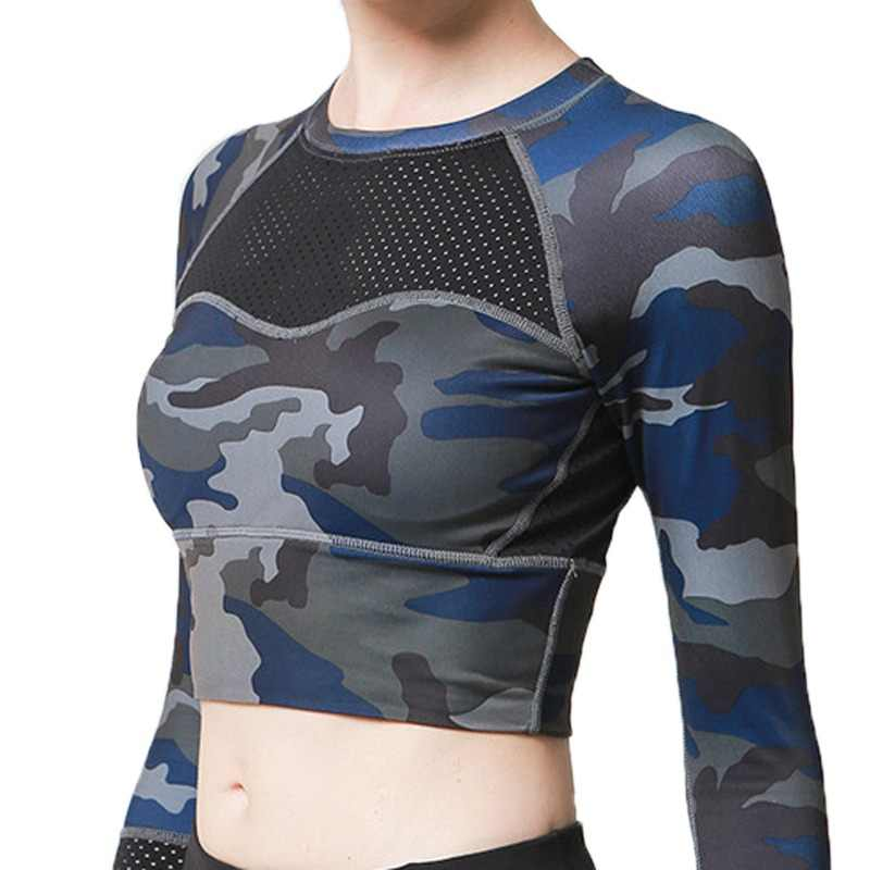 27e5729c22 Women s Breathable Polyester Sports Yoga Shirt Camouflage Long Sleeve Crop  Top Mesh Running Elastic High Impact