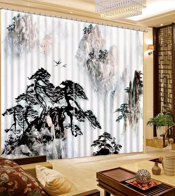 Chinese Classic 3D Curtains Drapes Black White Mountain Landscape Curtains  For Kitchen Room Living Room Bedroom