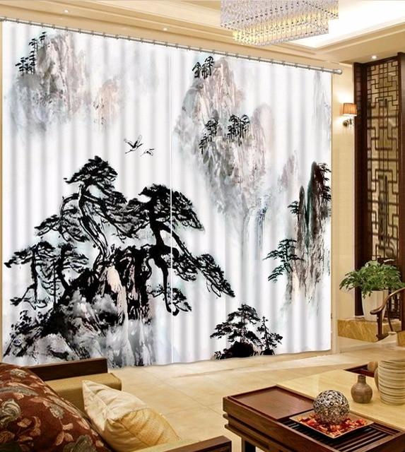 Cinese Classico 3D Tende Tende Nero bianco paesaggio di montagna ...