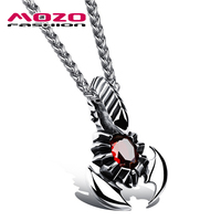 New Fashion Jewelry Hot Tide Male Stainless Steel Scorpion Cubic Zirconia Pendant Necklace Creative Gift Boutique