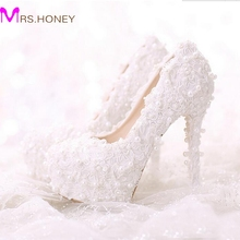 Comfortable High Heels White Pearl Sweet Lace Bridal Shoes Bouquet Wedding Party Dress Shoes 2016 Latest Beautiful Women Shoes