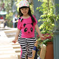 New 2016 Summer Stripe Cartoon Panda T Shirt & Pants Girls Clothing Set Baby Casual Kids Sports Clothing Set