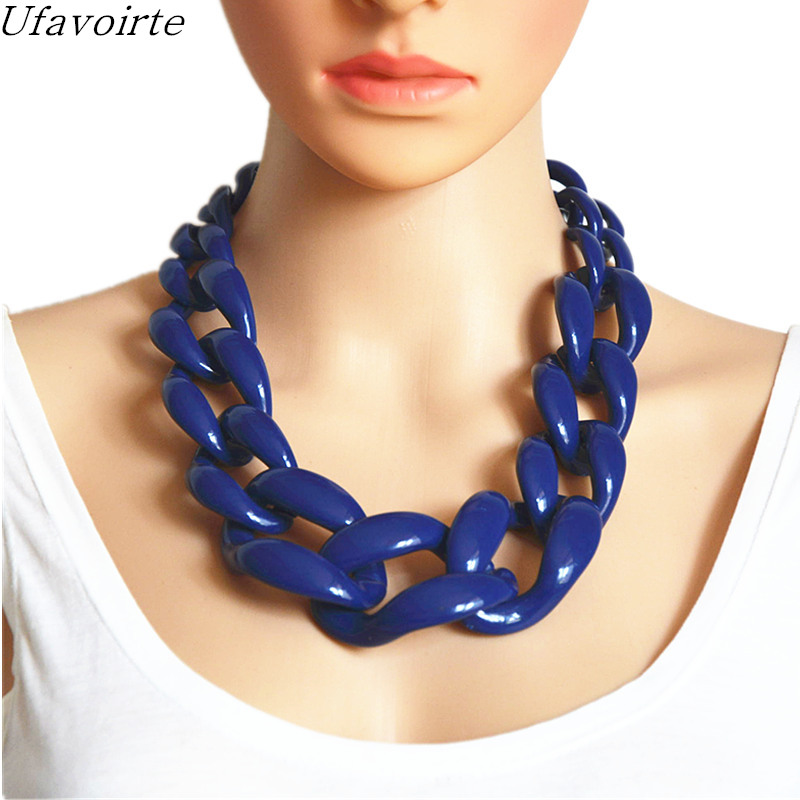 Ufavoirte Jewelry Statement Necklace Chain Cord Chunky Choker Necklace Colors Big Resin Chain Necklace Jewelry Women Gift exaggerated enamel flower layered chain big imitation pearl necklace perfume women beaded chunky statement necklace