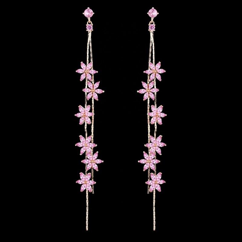 Luxury Pink CZ Zircon Flower Long Earrings Fashion Rose Gold vine Tassel Flower Stud Earrings Women Wedding Party jewelry Drop