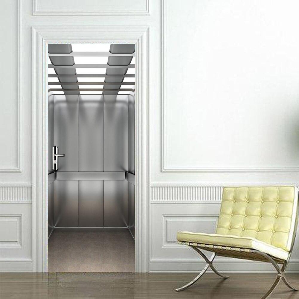 Aufzug Tür Aufkleber Elevatoar Wasserdicht Wohnzimmer Schlafzimmer Aufzug Tür Tapete Selbstklebende Art Wall Decals 3D Decor