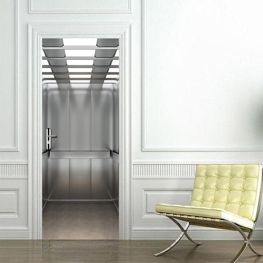 Lift Door Stickers Elevatoar Waterproof Living Room Bedroom Elevator Door Wallpaper Self Adhesive Art Wall Decals 3D Decor
