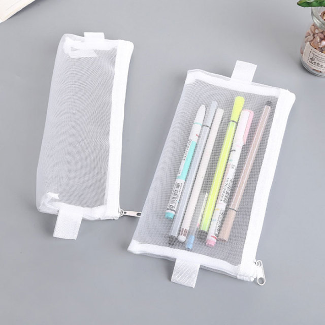 77792641a5464f Simple Transparent Nylon Mesh Pencil Case Student White Pencil Bag for  Girls Boys School Office Supplies Pen Box Stationery