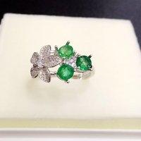 2017 настоящие драгоценности QI Xuan_Trendy Jewelry_Colombia зеленый камень моды Ring_S925 Твердые серебряные женские Rings_Factory непосредственно продаж