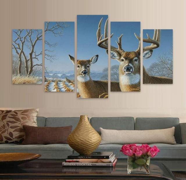 New 5 Piecessets Canvas Art HD Elk In Forest Winter canvas painting Decorations For Home Wall Art Prints Canvas UnframedA118