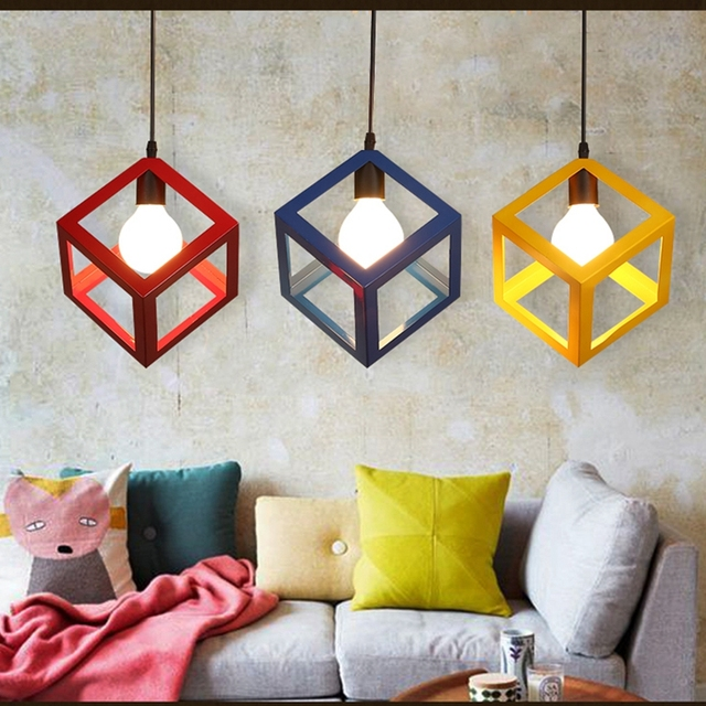 LuKLoy Pendant Lights Lamp, Modern Colorful Frame LED Kitchen Light Lamp Shade for Kitchen Island Luminair Restaurant Decoration