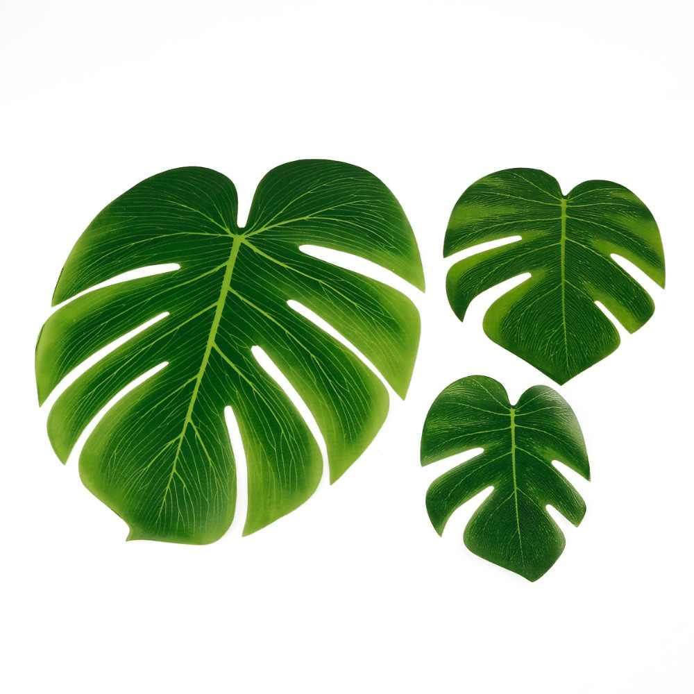 10 pçs 12 pçs verde artificial tropical palmeira folhas hawaiian luau festa selva praia tema festa decoração havaí