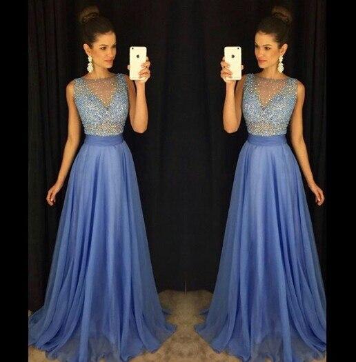 Vestido longo Fashion New Long   Prom     Dresses   2017 Scoop Sleeveless A-Line Floor Length Beading Chiffon Evening   Dresses