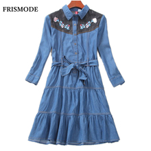 Vintage Flower Embroidery Denim Dress 2017 New Autumn Sweet Floral Long Sleeve Midi Tunic Mori girl