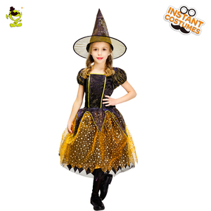 Image 2 - Girls Witch Costume Kids Gold Elegant Witch Dress With Hat Clothes For Halloween Cosplay Party Costumes