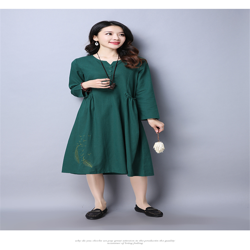 Quality Cotton Linen Maternity Dresses Autumn Long Sleeve Clothes for Pregnant Women Clothing for Pregnancy 2017 New Fashion fashion cotton padded maternity shirts autumn winter fashion thick knitted long sleeve pregnancy tops loose maternity clothes