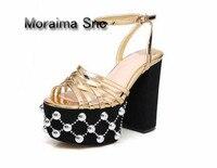Moraima Snc brand punk summer women shoes metal decor platform sandals ladies gold sliver rivet square high heels sandals women