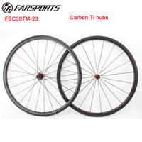 Farsports 700C Carbon Ti hubs bike wheelset , super light 1078g/set 30mm x 23mm tubular road bike wheels , Sapim aero spokes