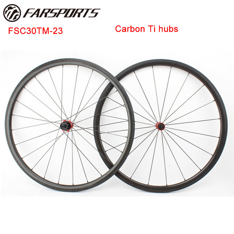 Farsports 700C Carbon Ti hubs bike wheelset , super light 1078g/set 30mm x 23mm tubular road bike wheels , Sapim aero spokes цена