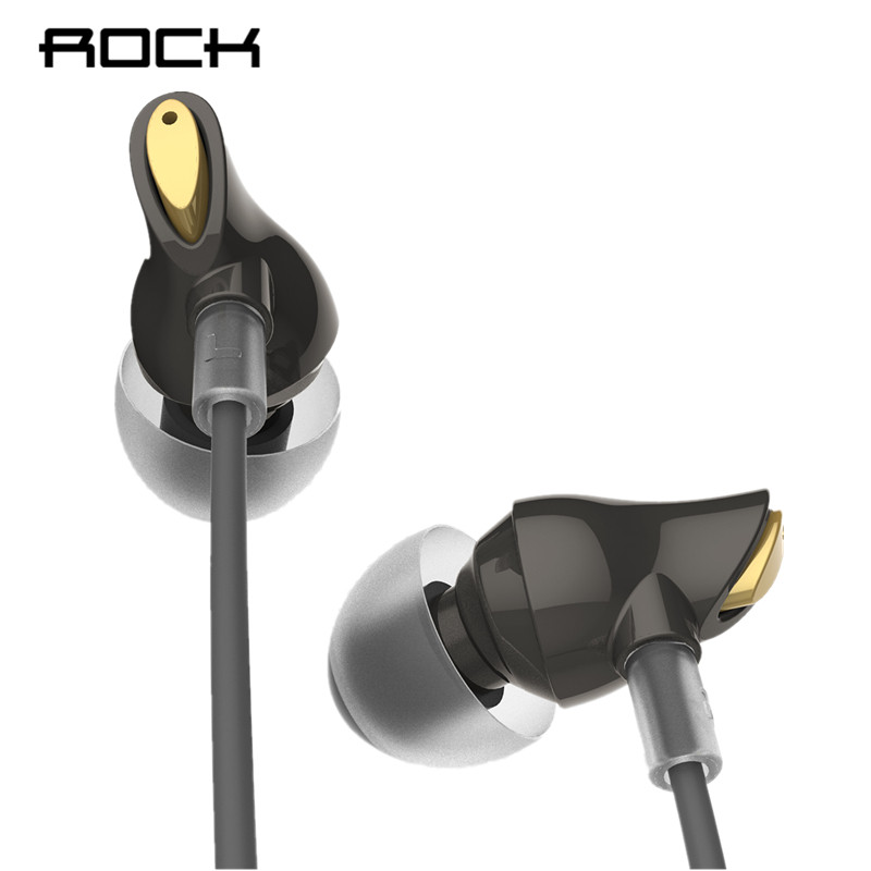 ROCK Original de auriculares estéreo de 3,5mm en los auriculares con micrófono para iPhone 6 Samsung/xiaomi Huawei iPad