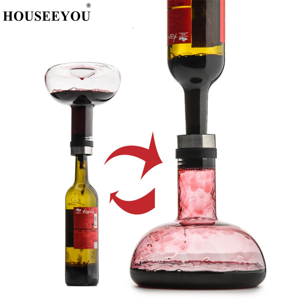 HOUSEEYOU Handmade Rapid Red Wine Decanter Crystal Glass Champagne Whiskey Container Drinking Bottle Bar Sets Wedding