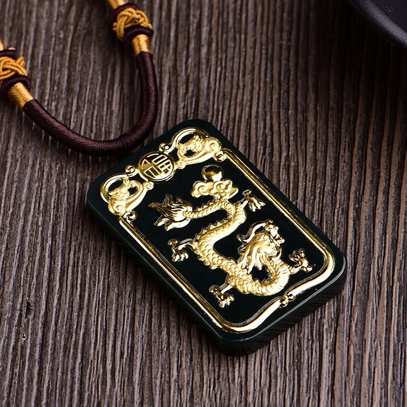Koraba Fine Jewelry 24K Gold Dragon Inlaid Wada Jade Pendant Rope Necklace Fashion Temperament  Accessories Gifts Free ShippingKoraba Fine Jewelry 24K Gold Dragon Inlaid Wada Jade Pendant Rope Necklace Fashion Temperament  Accessories Gifts Free Shipping