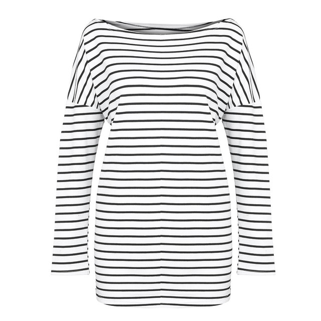 Feitong Sexy One Shoulder Loose T-shirt Women Casual Striped V-neck Patchwork Long Sleeve Pullover tshirt women Female
