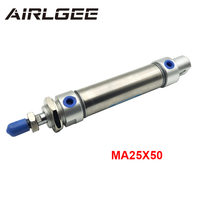 MA25x50 25mm Bore 50mm Stroke Screwed Piston Rod Dual Action Stainless Steel Mini Pneumatic Air Cylinder Free Shipping 1 pcs 50mm bore 25mm stroke stainless steel pneumatic air cylinder sda50 25