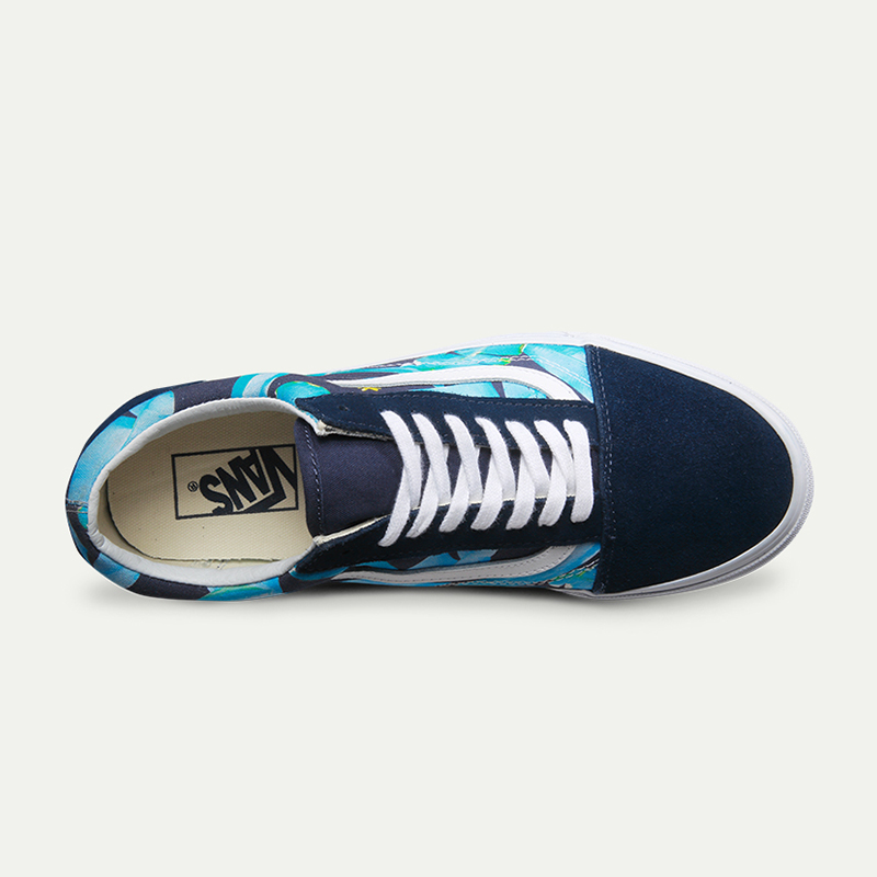 Vans Original Old Skool Classic Non slip shoes Men s Women s Blue Print  Leisure Canvas Sneakers Breathable Fencing Shoes on Aliexpress.com  dbe5988c995f