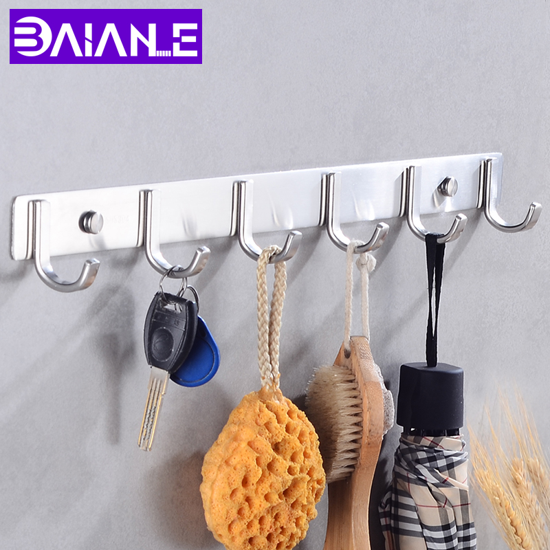 7pcs Robe Hook Key Wall Mounted Coat Hook Rack Wall Hanger Clothes Holder Kitchen Stainless Steel Towel Hook Bathroom Decorate in Robe Hooks from Home Improvement