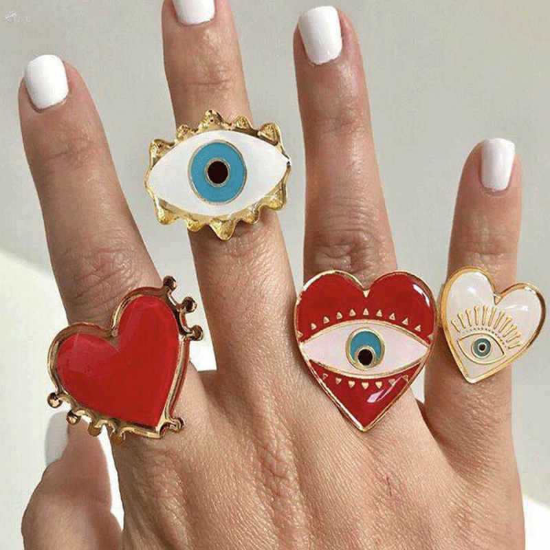 AOMU Lovely Exaggerated Eyes Heart Rings For Women Fashion Statement Rings Opening Adjustable Party 2019 Jewelry Set
