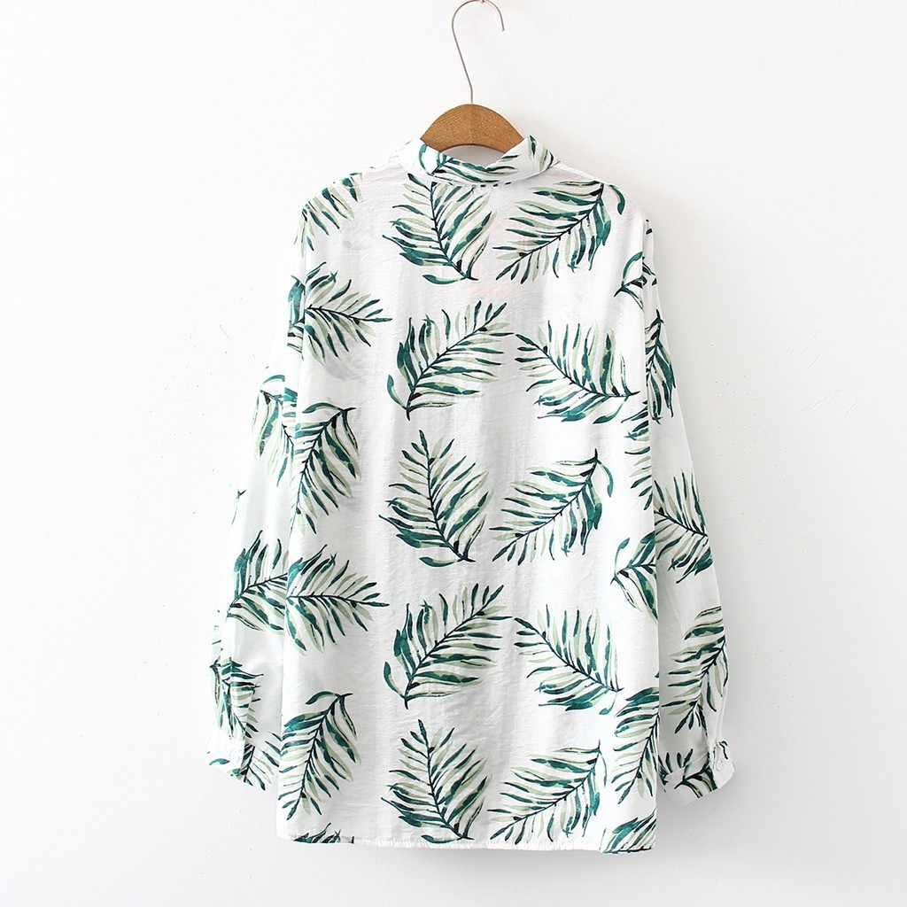 JAYCOSIN гавайская рубашка Женская Повседневная пляжная рубашка с принтом Топ пляжная рубашка с длинным рукавом с отворотом Повседневная Свободная блуза 72