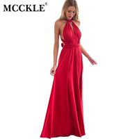 MCCKLE Sexy Women Boho Maxi Club Dress Red Bandage Long Dress Party Multiway Bridesmaids Convertible Infinity