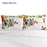 Custom 3D HD Pillow Case,Pillowcase 50x70/50x75/80x80,Birds flowers Decorative Pillow Cover Bedding for Hotel Wedding Dropship