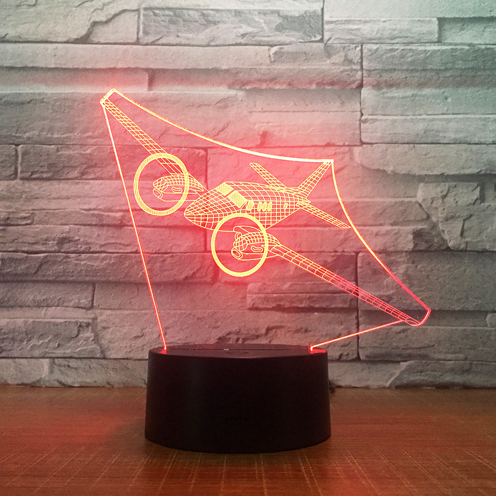 LED airplane light creative 7 color night light 3d table lamp acrylic usb light 1781 image