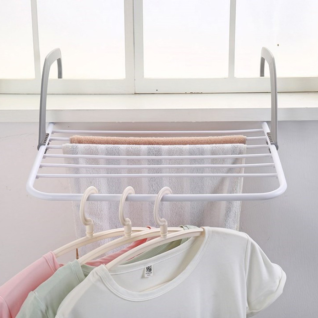 2019 New Window Balcony window sill drying rack folding hanging clothes rack hot sell Balcony drying shoe clothes rack tipi tent kinderkamer