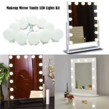 Makeup Mirror Vanity LED Light Bulbs Kit for Dressing Table with Dimmer and Power Supply Plug in, Linkable, Mirror Not Included