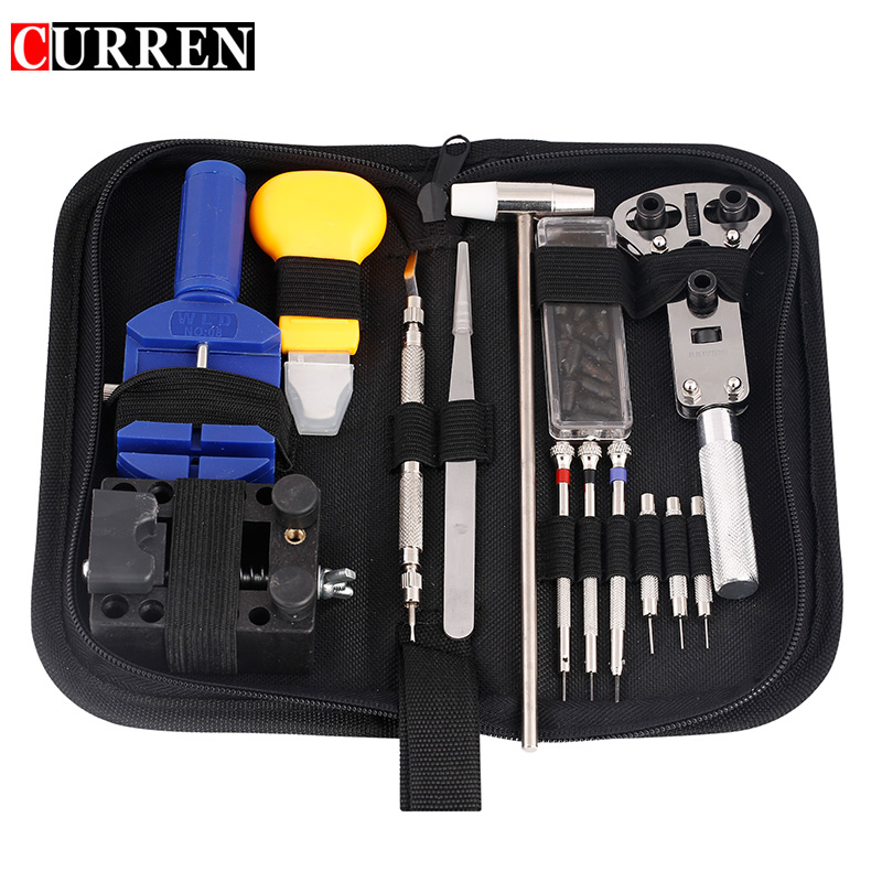 CURREN 14 /16 pieces Watch Repair Tools Kit Pin Set Wristwatch Case Opener Remover Screwdriver Tweezer Watchmaker Dedicated high quality professional 20 pcs watch repair tool kit set with bag link pin remover case opener watch hand remover