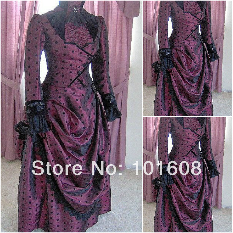 1860 S Korset Victoria Gothic / Perang Saudara Southern Belle Ball Gown Gaun Halloween dresses US 4-16 V-1402