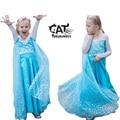 Girls clothes 2017 spring kids clothes cosplay costume girls blue long sleeve shining party elasa princess sofia dress