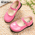 2017 spring new princess leather shoes soft bottom girl Square mouth shoes baby side shoes student party dance flat shoes 22-36