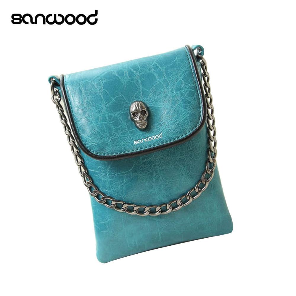 Hot New Women's Fashion Faux Leather Skull Pattern Mini Messenger Bag Phone Bag Handbag