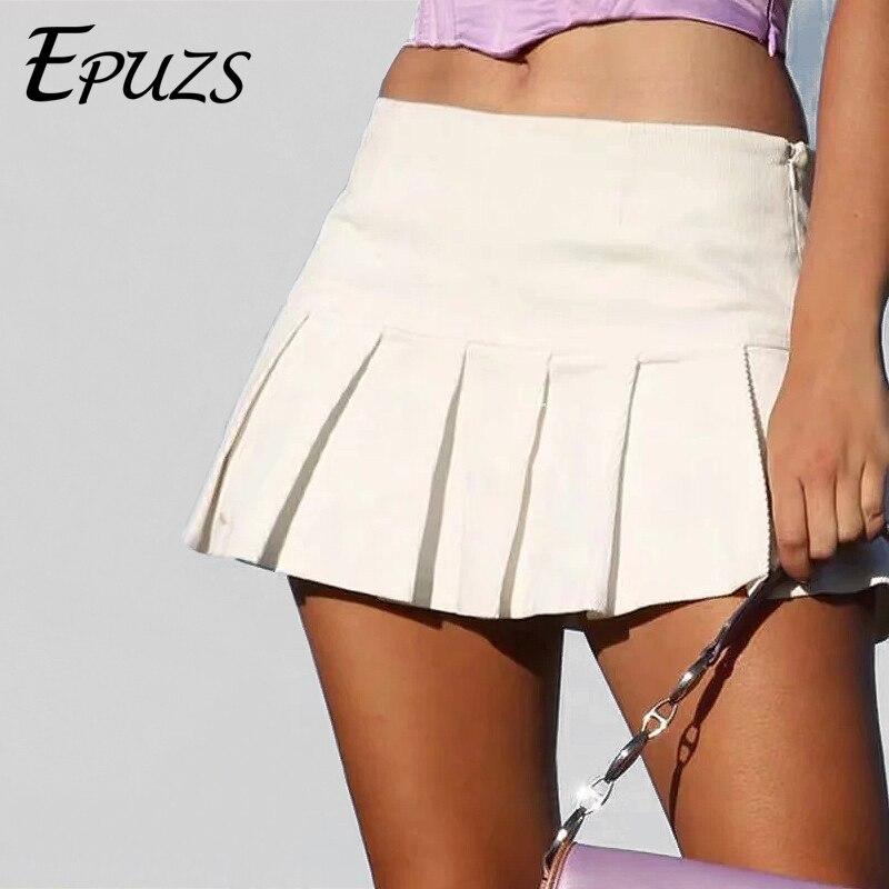 Sexy Black White Pleated Skirts Womens Kawaii High Waist Skirt Streetwear Korean Fashion Summer Mini Skirt 2019