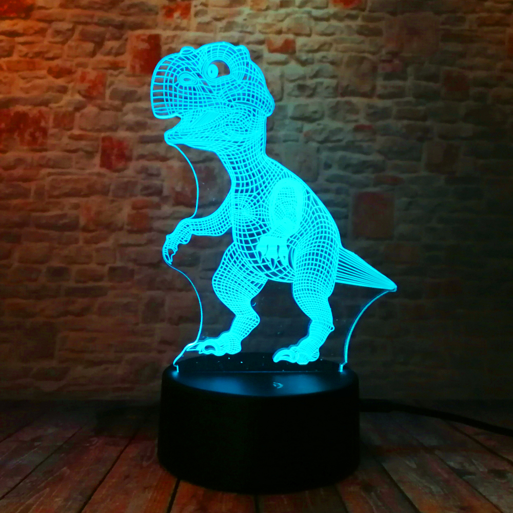 Yeni Unikal Tirannosaurus Rex Dinosaur Dragon 3D 7 Rəng - Gecə işığı - Fotoqrafiya 6