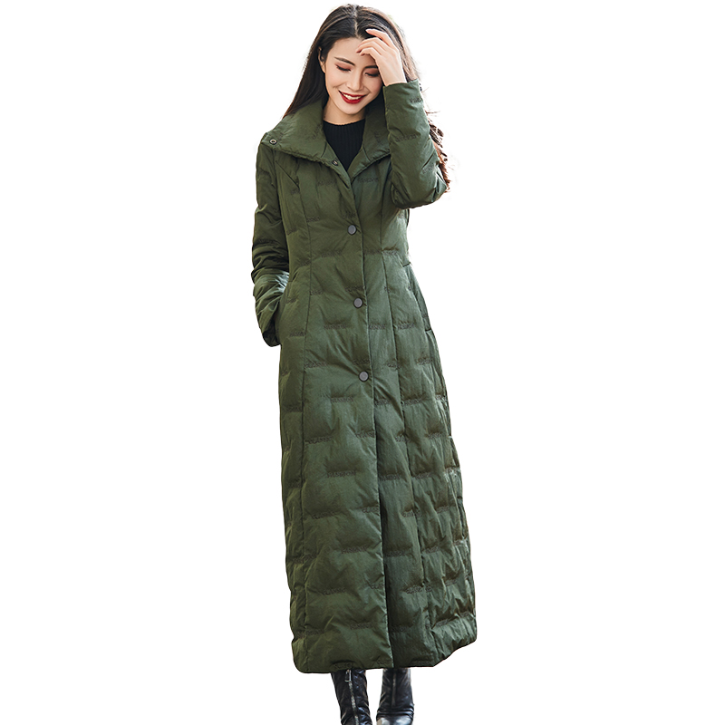 Army Green X-Long Thicken   Down   Jacket Female 2019 Winter New Warm White Duck   Down     Coat   Women Single Breasted Outwear With Belt