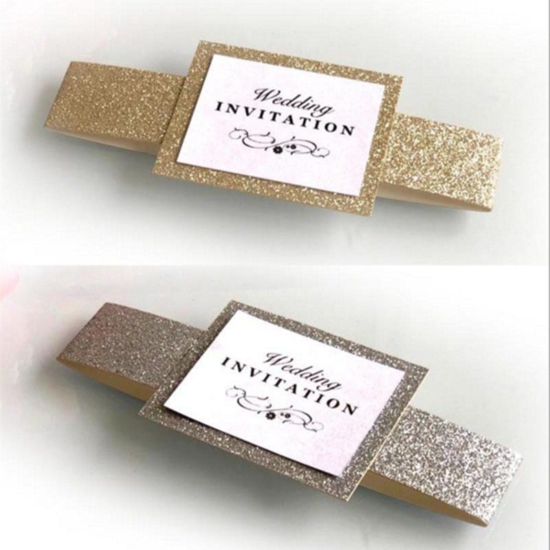 Glittery Invitation Belly Band Gold Silver Luxury Invitation