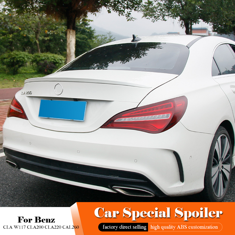 Fit For Benz CLA W117 <font><b>CLA200</b></font> CLA220 CAL260 Black Roof <font><b>Spoiler</b></font> 2014 2015 2016 2017 2018 Rear Trunk Wing Primer Color Tail <font><b>Spoiler</b></font> image
