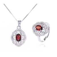 Natural Red Garnet Jewelry Set 2PCS 925 Sterling Silver Fine Jewelry Necklace Ring Set January Birthstone