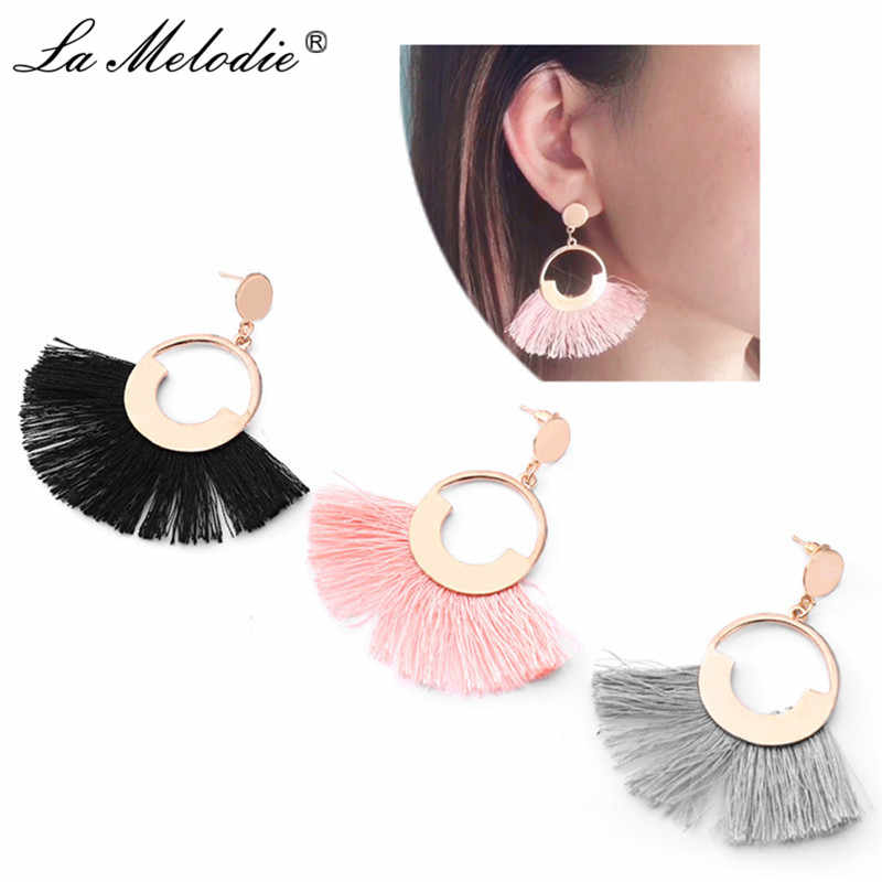 New Pink Black Gray Tassel Earring For Women Big Drop Earring Ethnic Bohemia Jewelry Long Fringed Dangle Earrings Sector Earring